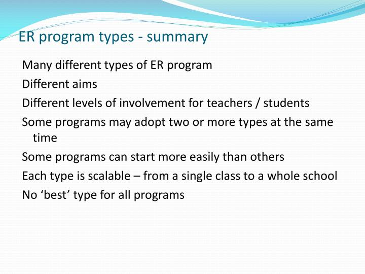 ER program types - summary