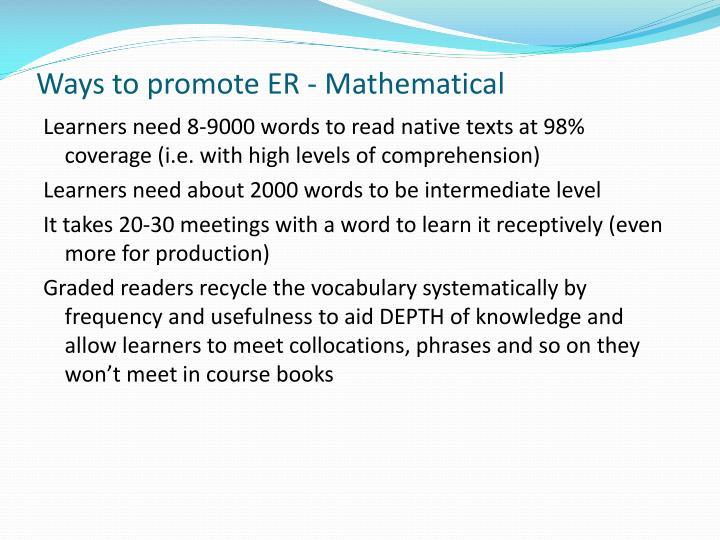 Ways to promote ER - Mathematical