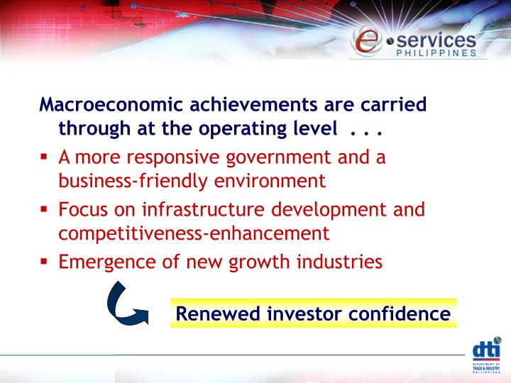 Macroeconomic achievements are carried through at the operating level  . . .