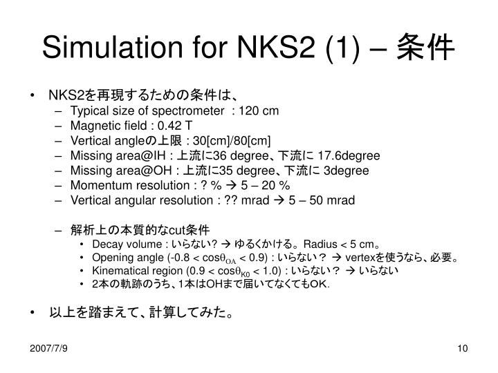 Simulation for NKS2 (1) –