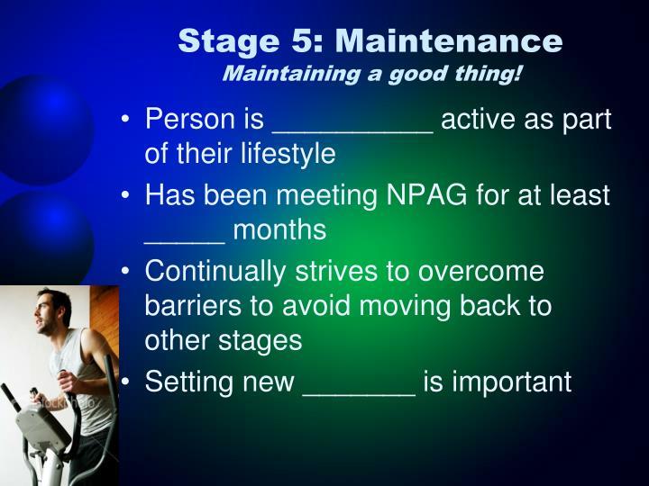 Stage 5: Maintenance