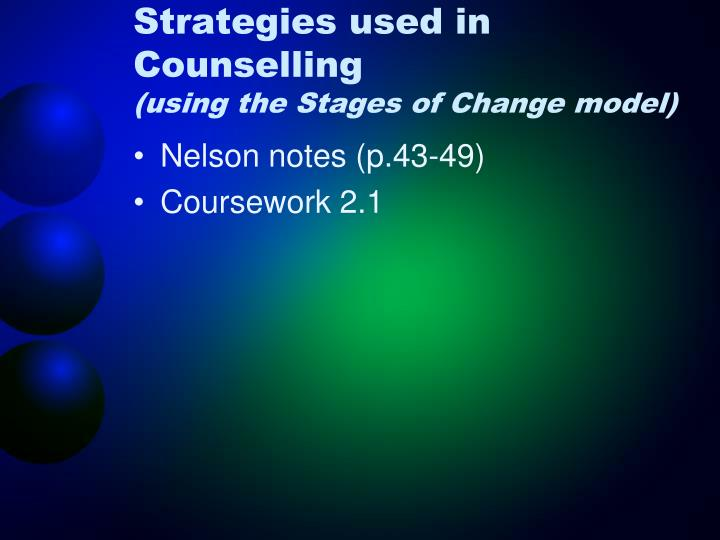 Strategies used in Counselling