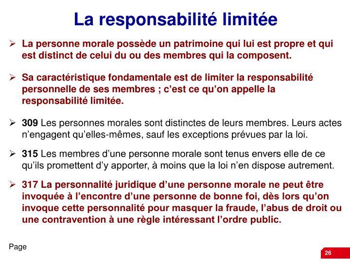 La responsabilité limitée