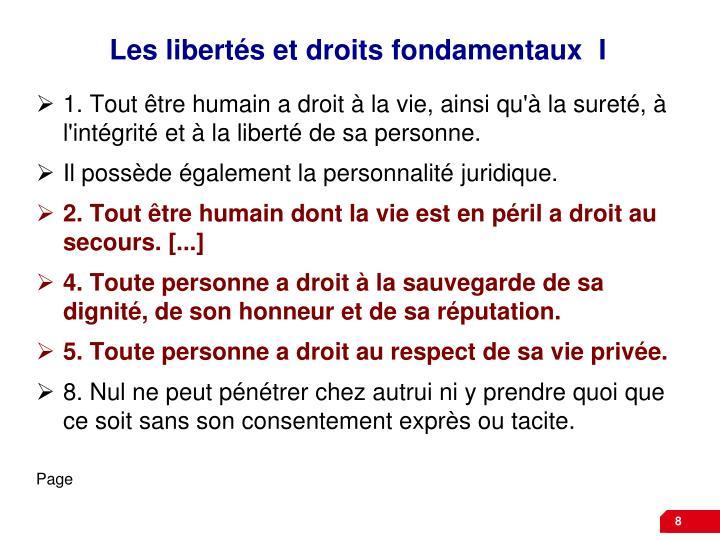 Les libertés et droits fondamentaux  I