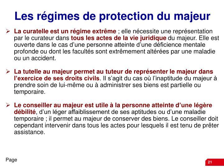Les régimes de protection du majeur