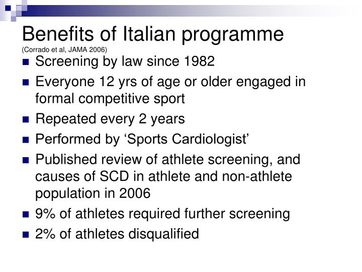 Benefits of Italian programme
