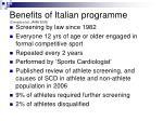 benefits of italian programme corrado et al jama 2006