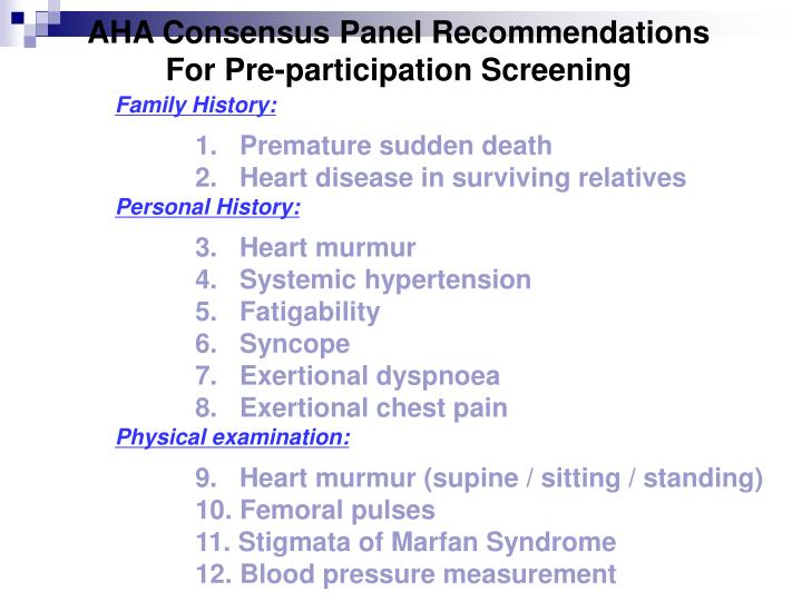 AHA Consensus Panel Recommendations