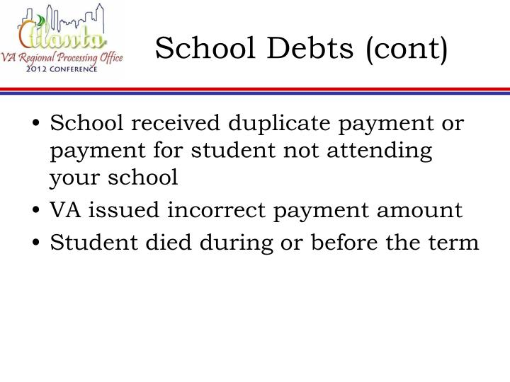 School Debts (cont)