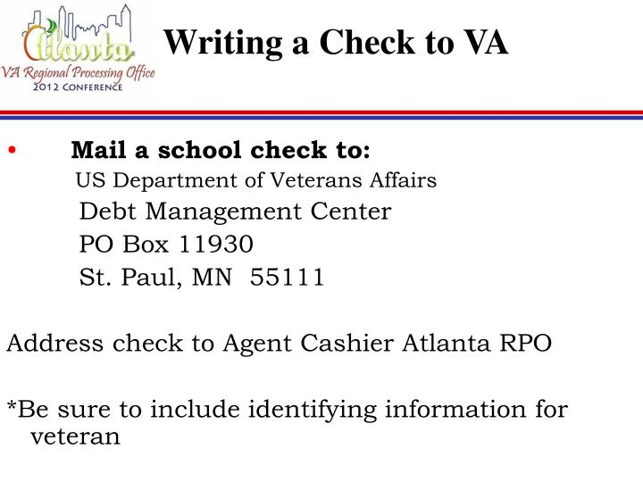 Writing a Check to VA
