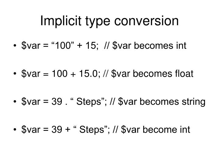 Implicit type conversion