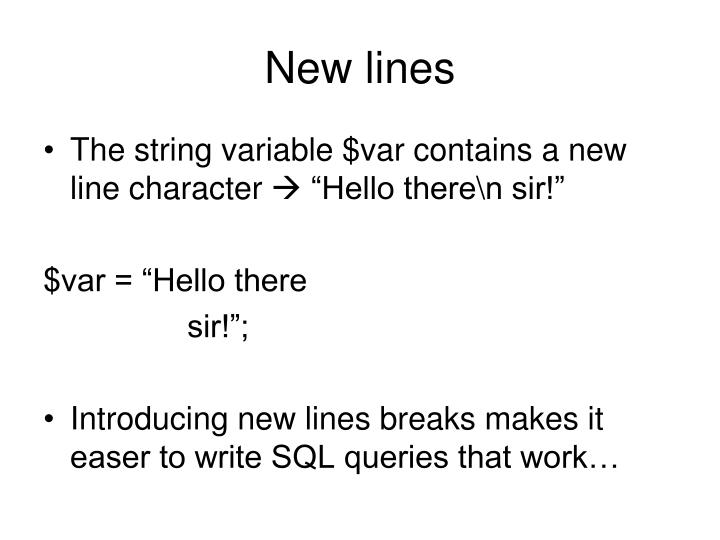 New lines
