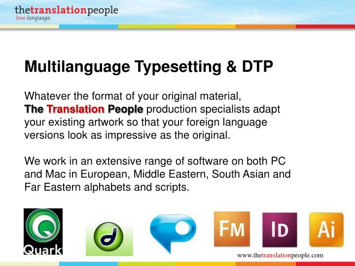 Multilanguage Typesetting & DTP