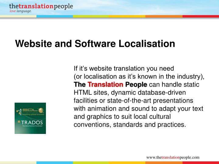 Website and Software Localisation