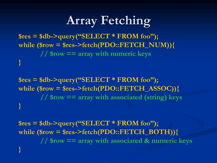Array Fetching