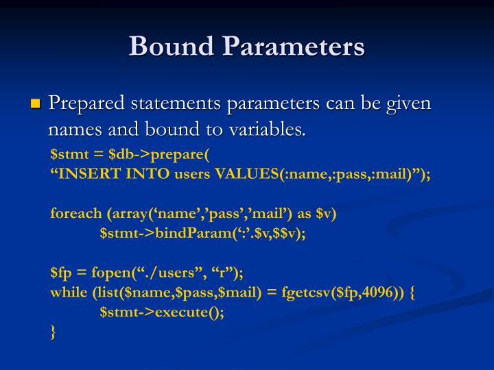 Bound Parameters