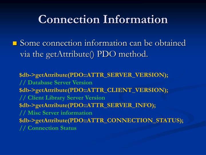 Connection Information