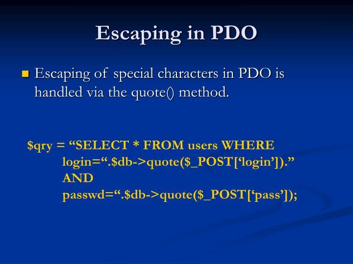 Escaping in PDO