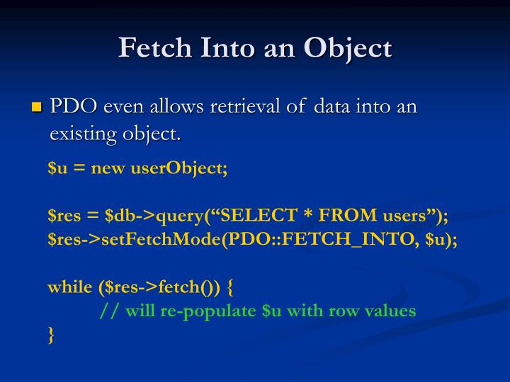 Fetch Into an Object