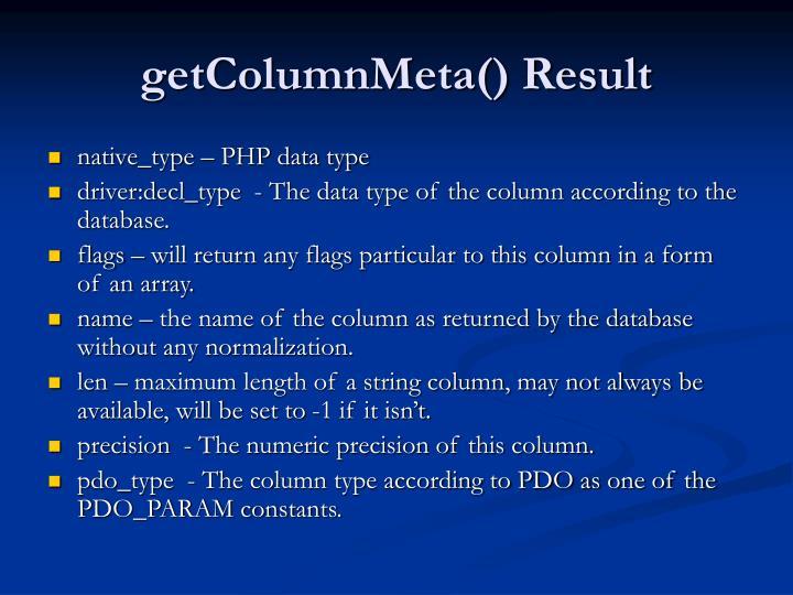 getColumnMeta() Result