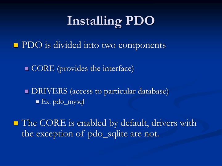 Installing PDO