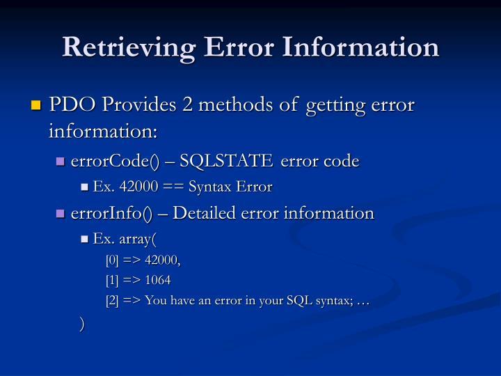 Retrieving Error Information