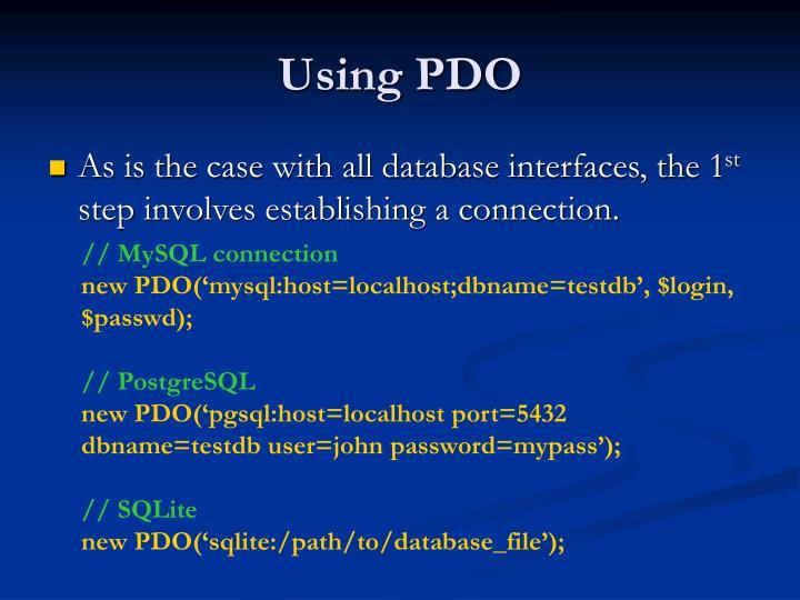 Using PDO