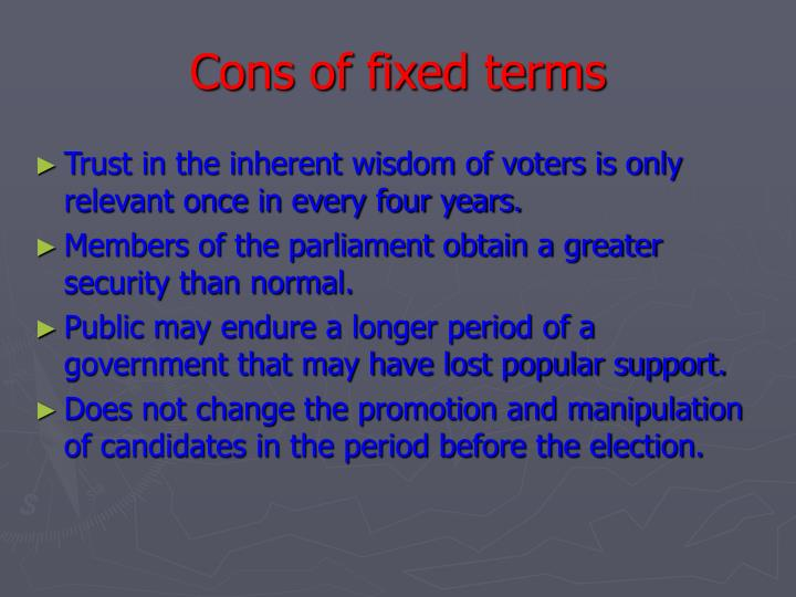 Cons of fixed terms