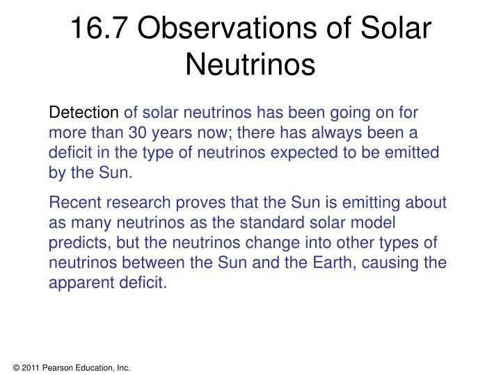 16.7 Observations of Solar Neutrinos