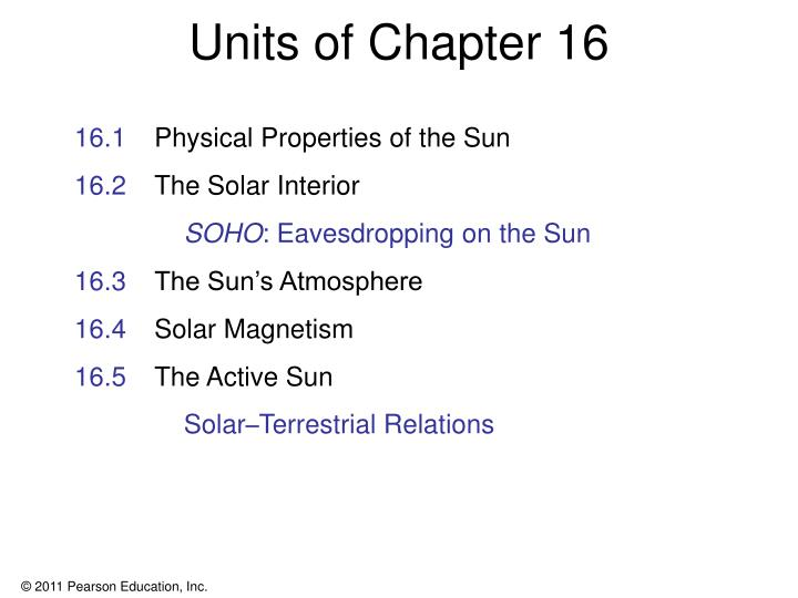 Units of chapter 16