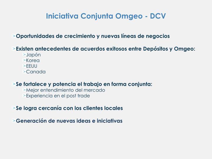 Iniciativa Conjunta Omgeo - DCV