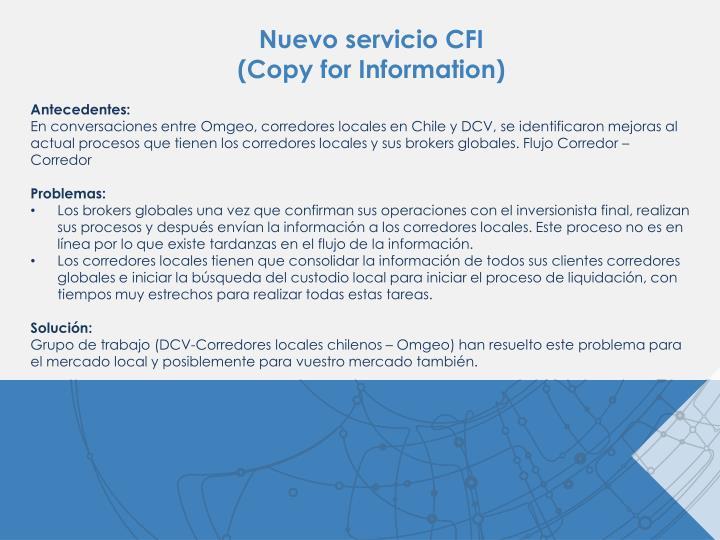 Nuevo servicio CFI