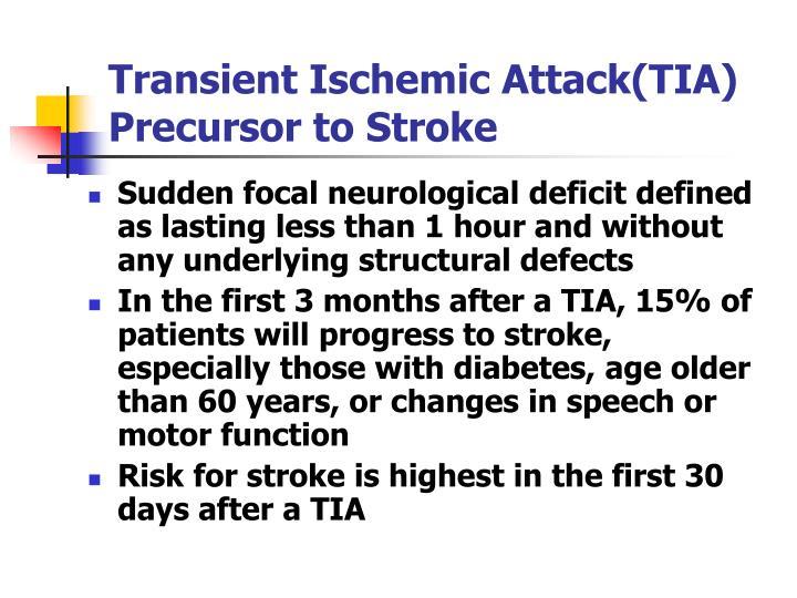 Transient Ischemic Attack(TIA) Precursor to Stroke