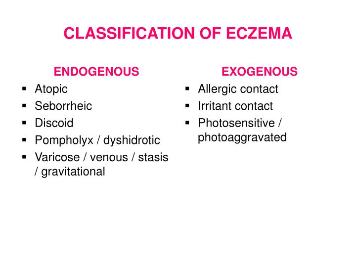 CLASSIFICATION OF ECZEMA