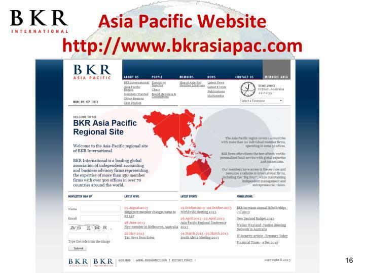 Asia Pacific Website http://www.bkrasiapac.com