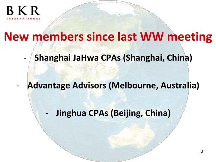 New members since last WW meeting