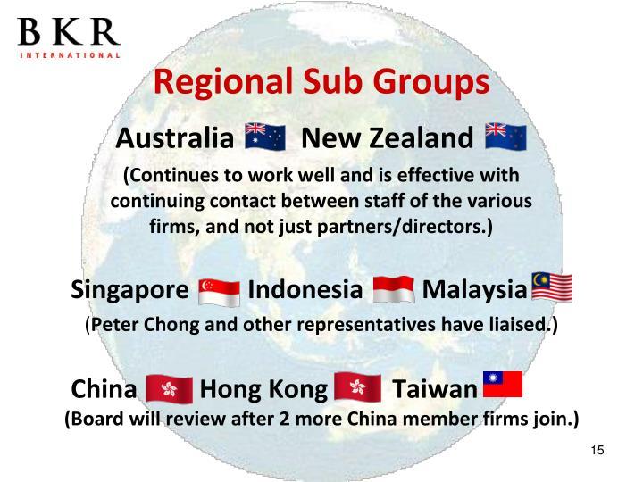 Regional Sub Groups