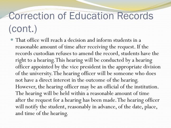 Correction of Education