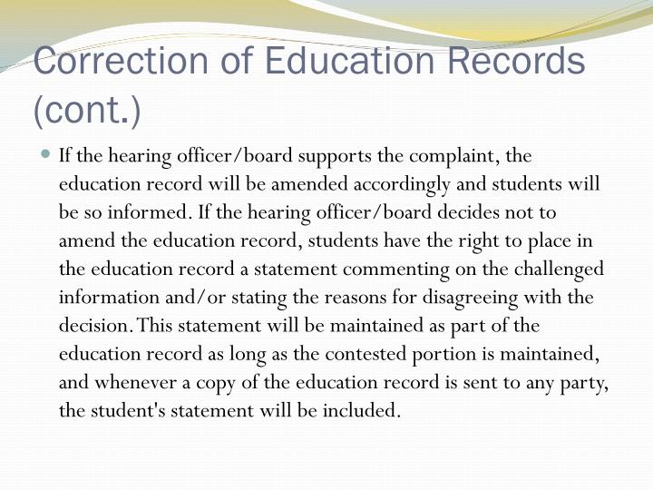 Correction of Education Records (cont.)