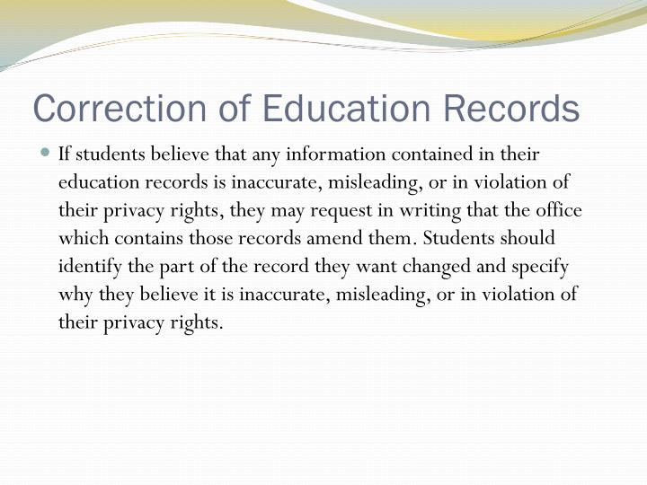 Correction of Education Records