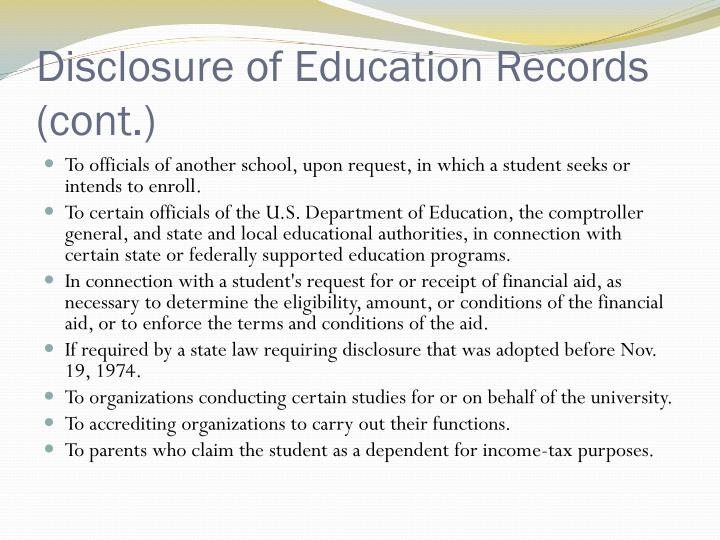 Disclosure of Education