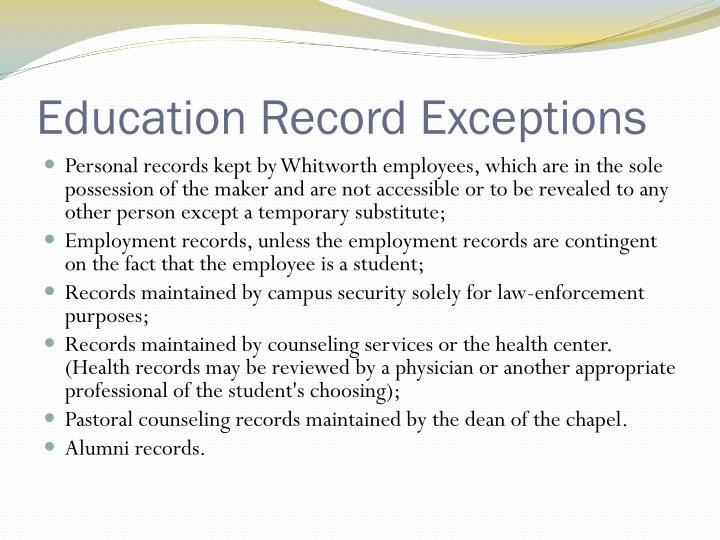 Education Record Exceptions