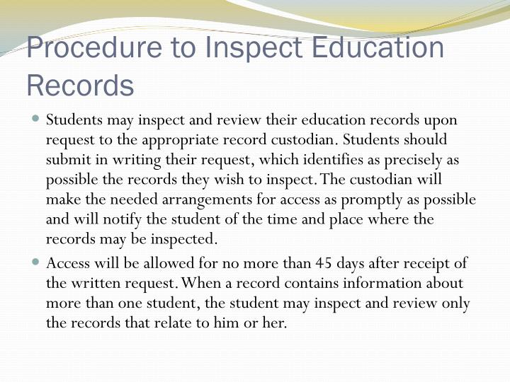 Procedure to Inspect Education Records