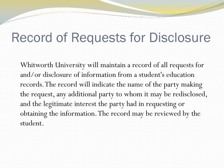 Record of Requests for Disclosure