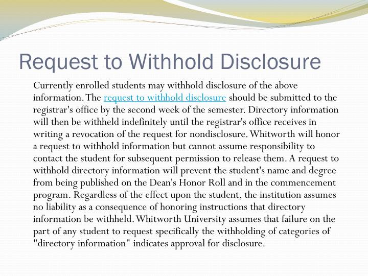 Request to Withhold Disclosure