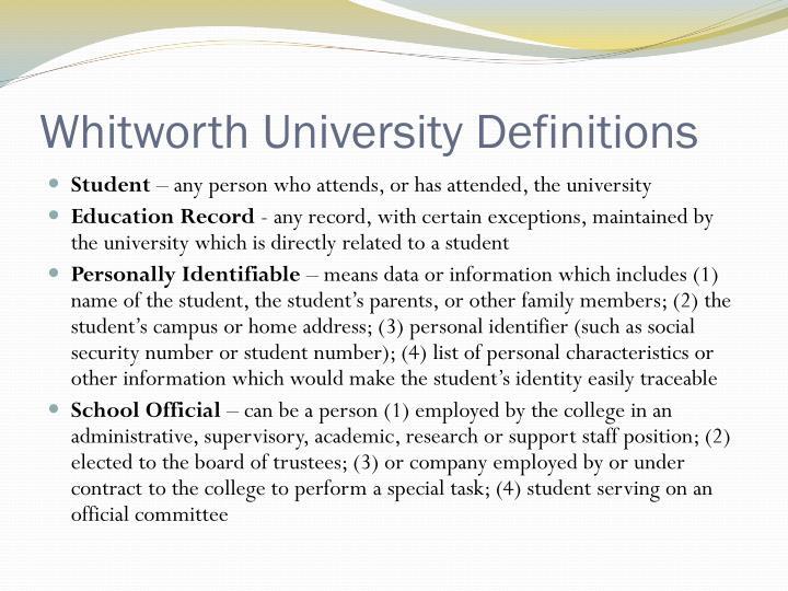 Whitworth University Definitions