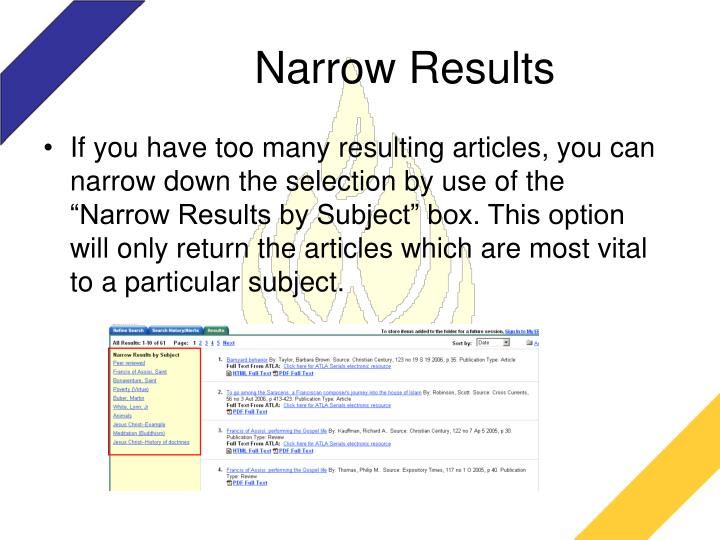 Narrow Results