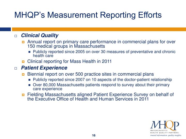 MHQP's Measurement Reporting Efforts