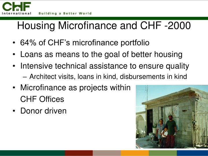 Housing microfinance and chf 2000