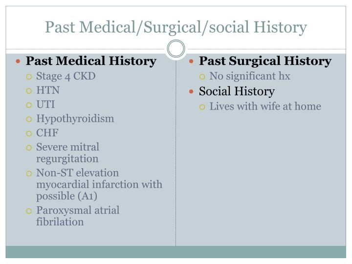 Past Medical/Surgical/social History